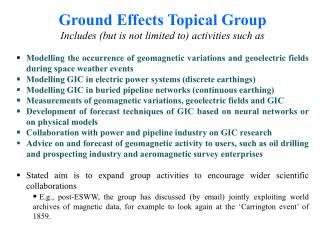 Ground Effects Topical Group Includes (but is not limited to) activities such as