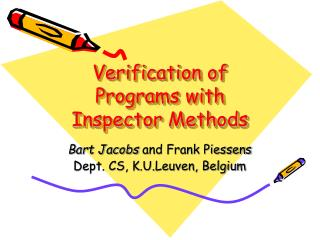Verification of Programs with Inspector Methods
