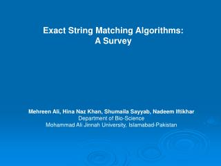 Exact String Matching Algorithms: A Survey