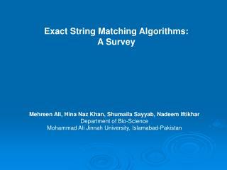 Exact String Matching Algorithms: A Survey