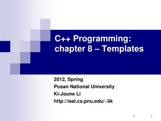 C++ Programming:  chapter 8 – Templates