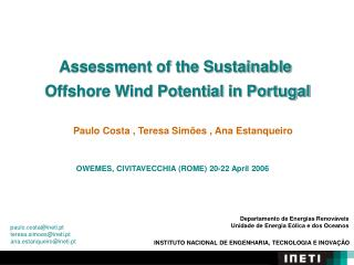 Assessment of the Sustainable  Offshore Wind Potential in Portugal