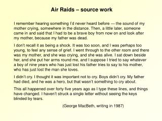 Air Raids – source work