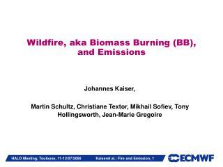 Wildfire, aka Biomass Burning (BB), and Emissions