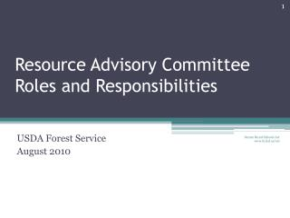 Resource Advisory Committee Roles and Responsibilities