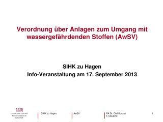SIHK zu Hagen Info-Veranstaltung am 17. September 2013