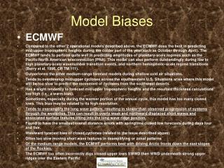 Model Biases