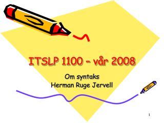 ITSLP 1100 – vår 2008