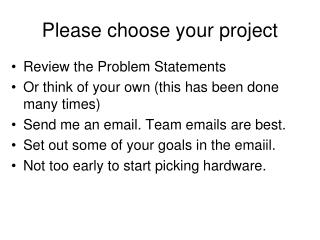 Please choose your project