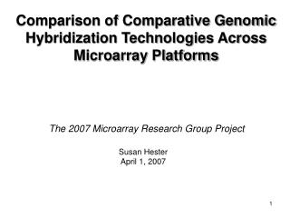 Comparison of Comparative Genomic Hybridization Technologies Across Microarray Platforms