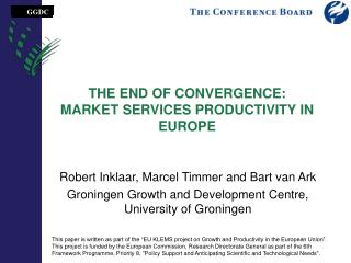 THE END OF CONVERGENCE: MARKET SERVICES PRODUCTIVITY IN EUROPE