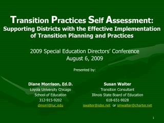 Transition Practices Self Assessment: Supporting Districts with the Effective Implementation of Transition Planning and