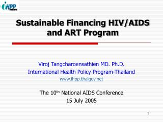 Sustainable Financing HIV/AIDS and ART Program