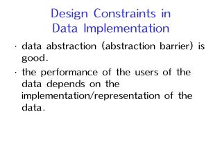 Design Constraints in  Data Implementation