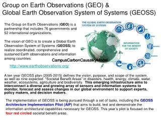 Group on Earth Observations (GEO) & Global Earth Observation System of Systems (GEOSS)