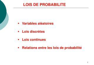LOIS DE PROBABILITE