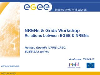 NRENs & Grids Workshop Relations between EGEE & NRENs