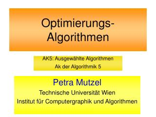 Optimierungs- Algorithmen