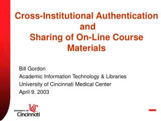 Cross-Institutional Authentication