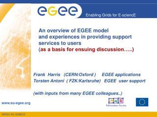 Frank  Harris   (CERN/Oxford )     EGEE applications