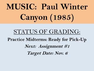 MUSIC:  Paul Winter  Canyon (1985)
