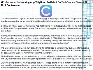#Professional Networking App 'CityHour' To Debut On TechCrun