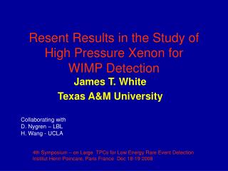 Resent Results in the Study of High Pressure Xenon for  WIMP Detection