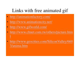 Links with free animated gif