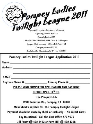 Pompey Ladies Twilight League Application 2011