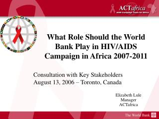 Elizabeth Lule Manager ACTafrica