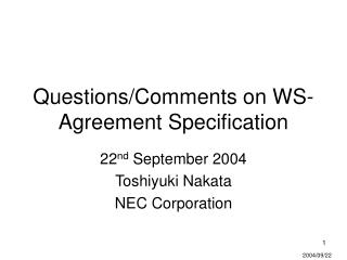 Questions/Comments on WS-Agreement Specification