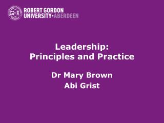 Leadership:  Principles and Practice