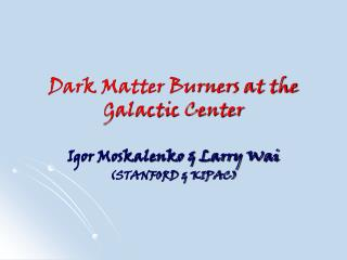 Dark Matter Burners at the Galactic Center