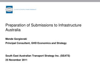 Preparation of Submissions to Infrastructure Australia