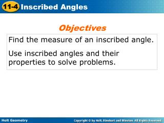 Find the measure of an inscribed angle.