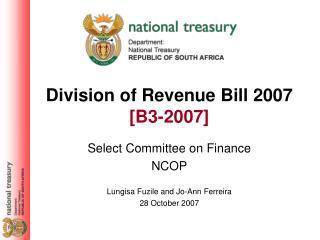 Division of Revenue Bill 2007 [B3-2007]