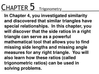 In this chapter, you will learn:  when side lengths don't form a triangle