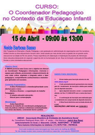 CURSO: O Coordenador Pedagogico  no Contexto da Educaçao Infantil