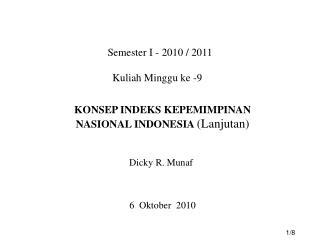 Semester I - 2010 / 2011