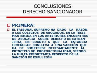 CONCLUSIONES  DERECHO SANCIONADOR