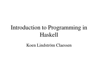 Introduction to Programming in Haskell