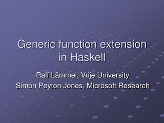 Generic function extension in Haskell