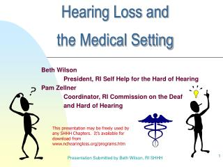 Hearing Loss and  the Medical Setting