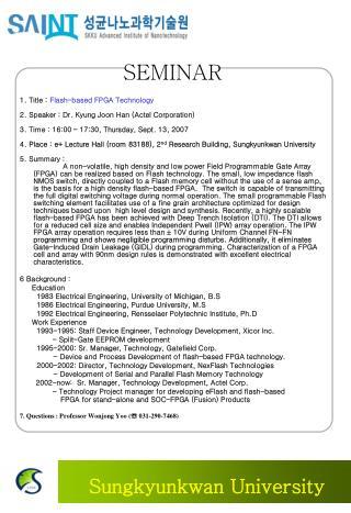 1 .  T itle  :  Flash-based FPGA Technology