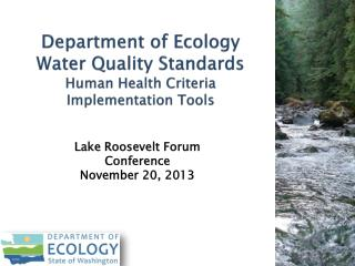 Department of Ecology  Water Quality Standards Human Health Criteria  Implementation Tools