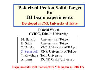 Polarized Proton Solid Target for RI beam experiments