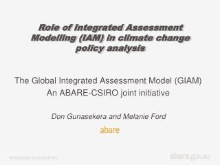 Role of Integrated Assessment Modelling (IAM) in climate change policy analysis