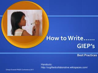 How to Write…… GIEP's