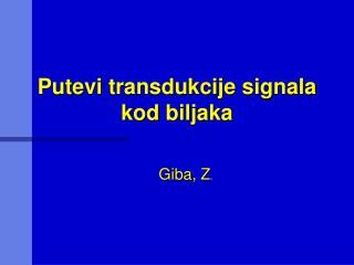 Putevi transdukcije signala kod biljaka