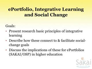ePortfolio, Integrative Learning and Social Change